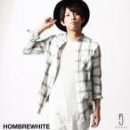 ネルシャツ メンズ チェックシャツ バンドカラー 長袖シャツ カジュアルシャツ オンブレ 送料無料 (sw4229)