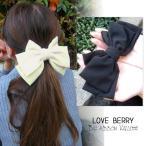 髮飾 - リボン バレッタ ヘアアクセサリー ヘアピン シュシュ 小物  レディース 大き目 シンプル ブラック ホワイト ピンク