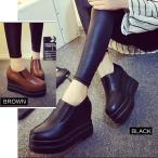 厚底 レザーシューズ シューズ 靴 くつ レディース ブーツ サイドゴア ショートブーツ ブラック キャメル
