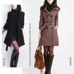 コート レディース アウター ダブルボタン ウール スタンドカラー ロングコート ブラック ブラウン 大きいサイズ シンプル 大人 上品