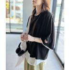 tシャツ Tシャツ レイヤード風 ミドル丈・無地クルーネックTシャツ重(半袖)