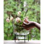 花瓶 enrich アイアンスタンド付きガラスベース キューブ/スクエア