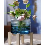 花瓶 enrich ウッドスタンド付きガラスベース ブルーグラデ Sサイズ