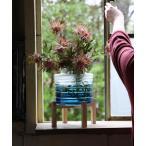 花瓶 enrich ウッドスタンド付きガラスキャンドル用ベース ブルーグラデ Lサイズ