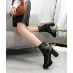 ブーツ チャンキーヒール厚底ミドルブーツ ◆
