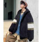 ジャケット ブルゾン 【neos -addictive design-】ルーズシルエット ライン フード フリース ボアブルゾン