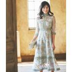 ドレス フラワー刺繍レース結婚式ワンピースドレス