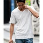 ボタニカル パイル ジャガード 半袖 Vネック Tシャツ