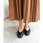パンプス 足が痛くならない靴で人気【防水】Vカットフラットシューズ/ENあしながおじさん