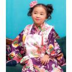 着物 「KYOETSU/キョウエツ」着物セット 華やか 七五三 753 3歳 被布セット 9点セット(被布、着物、伊達衿、長襦袢、髪飾り、巾着、草履、