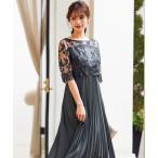 ドレス 刺繍レース切り替えプリーツロング結婚式ワンピースドレス