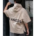 パーカー 【KANGOL×A.S.M コラボ】アメリカンコットン / KANGOL オーバーサイズ ルーズサイズ バックプリント パーカー Tシャツ(