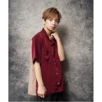 シャツ ブラウス 配色ステッチデザインオープンカラー半袖シャツ(IR)