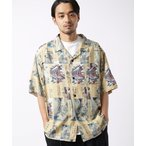 シャツ ブラウス HOKUSAI/葛飾北斎 SS SHIRT/ビッグシルエット総柄オープンカラーシャツ