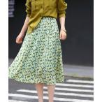 スカート ミモレ丈花柄スカート