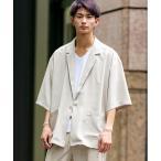 ジャケット テーラードジャケット ライトジョーゼット オーバーサイズ テーラードジャケット くすみカラー シャツジャケット / 5分半袖