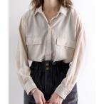 シャツ ブラウス スパンブロードフラップポケット無地ミドル丈レギュラーカラーシャツ(長袖)