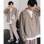セットアップ 【セットアップ】ビッグ長袖シャツジャケット / ワイド 2B テーラードジャケット & テーパードパンツ