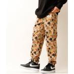 パンツ 【LRG】カモフラ総柄 フロントブランドロゴ刺繍 スウェットパンツ