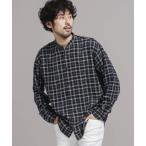 シャツ ブラウス FINE FLANNEL バンドカラーチェックシャツ