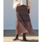 スカート 小花柄プリーツフレアスカート/マーメイドスカート