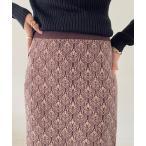 スカート ジャガードニットタイトスカート/ニットスカート/ウエストゴム