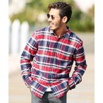 シャツ ブラウス 裏ボアチェックシャツ / 裏起毛 ボア ネルシャツ 厚手 長袖シャツ