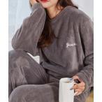 ルームウェア パジャマ カラフルルームウェア もこもこ あったか ボアフリース セットアップ パジャマ ふわふわ プードル フェイクファー 刺繍 韓国
