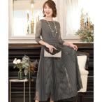 ドレス 結婚式ワンピースドレスミモレ丈と七分袖切り替えレースフォーマル