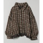ジャケット テーラードジャケット ツイードパイピングショートシャツジャケット/931144
