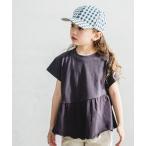 tシャツ Tシャツ 【USAコットン100%】【ママとおそろい】アシンメトリー フレア チュニック 異素材切替 半袖 Tシャツ ブロード カットソー