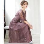 ドレス プリーツ×レース 7分袖結婚式ワンピースドレス