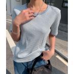 tシャツ Tシャツ 配色パイピングカットソーボーダーTee(半袖)