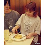 tシャツ Tシャツ 【timecapsule】Disney 顔刺繍 (ミッキー/ミニー) コットン半袖Tシャツ