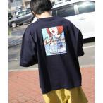 tシャツ Tシャツ 【WEB限定】【別注】【PIKO】90s 古着風 ガールドリンク イージーケア高密度ビッグシルエットイラストTシャツ【ユニセックス