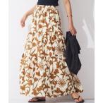 スカート モノトーン花柄ティアードスカート