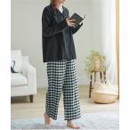 ルームウェア パジャマ コットンネルシャツパジャマセット トップス&パンツの上下2点セット♪