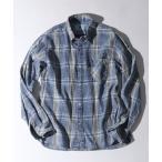 シャツ ブラウス [INDIGO LABEL] BLEACH CHECK SHIRT:インディゴレーベル USED加工 チェックシャツ