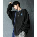 スウェット 【neos -addictive design-】CONVERSE コンバース ルーズシルエット リブライン シープボア 刺繍 ロゴ クル