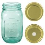 ガラスボトル クラシックジャー メイソンジャー 保存容器/ドリンクボトル おしゃれで可愛い  450ml フタ2種類&ストロー付属