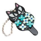 手鏡 ネコ 猫 フラワーキャットミラー バックチャーム ノアファミリー  雑貨 キャット J371【代引き不可】