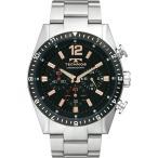 【ポイント5倍!】TECHNOS テクノス クロノグラフ メンズ 腕時計 ブラック T1019TH