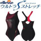 エレッセ ellesse レディース フィットネス水着 ダイアゴナルウルトラストレッチ ワンピース ゴールド シルバー ES36260 GS