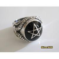 ペンタグラムリング(黒)19号 21号 23号 メイン 星 指輪|0001pppcom