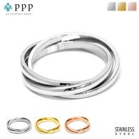 ステンレス リング(59) 3連の指輪 選択可 銀色 金色 ピンクゴールド メイン メンズ レディース 大人 おしゃれ シンプル|0001pppcom