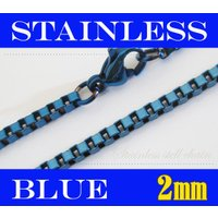 (ステンレス)ベネチアンチェーン青色2mm選択可45cm 50cm 60cm シルバー925製ネックレス メイン 0001pppcom