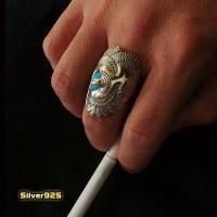 (GV)イーグルとターコイズの指輪(1) 羽根 鳥 動物 リング メイン|0001pppcom|05