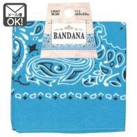 バンダナ ライトブルー 水色 53×53cm ペイズリー柄 メール便対応 1通10枚までOK