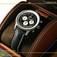 ブライトリング ナビタイマー01 46MM A017B09KBA 革 新品。 ブラック/シルバーイン...