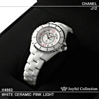 シャネル時計 J12 ホワイトセラミック ピンクライト レディス H4863 新品。 ホワイトダイア...